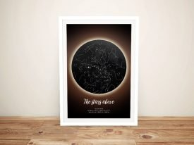 Solar Eclipse Star Map Print on Canvas