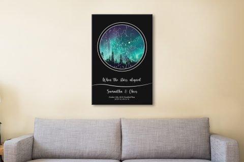Night Sky Aurora Borealis Bespoke Star Map
