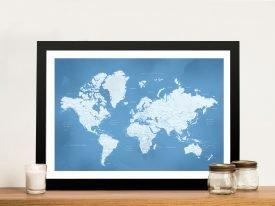 Powder Blue Framed World Map Wall Art