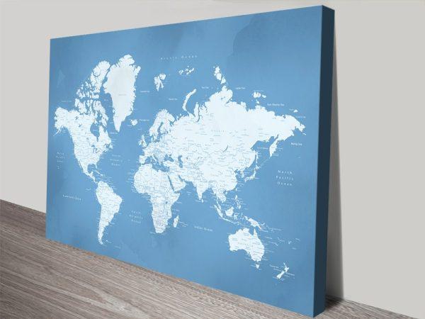 Powder Blue World Map Art Home Decor Ideas