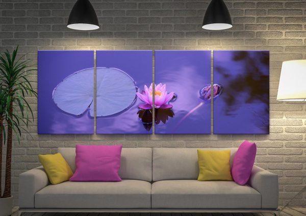 Purple Lotus 4-Panel Art Set on Canvas
