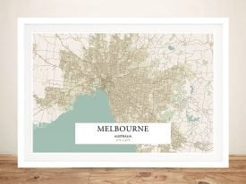 Retro Framed Map of Melbourne