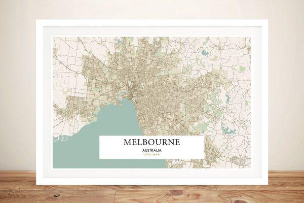 Retro Framed Map of Melbourne