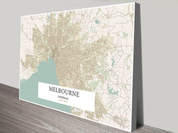 Vintage Melbourne Map Unique Home Decor