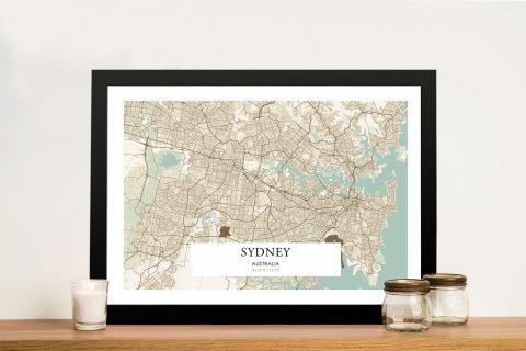 Framed Vintage Sydney Map Gift Ideas Online