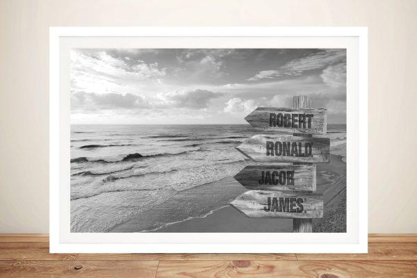 Framed Black & White Beach Signpost Art