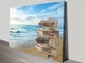 Buy a Bespoke Beach Signpost Art Print