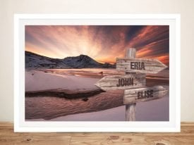 Dawn Beach Framed Custom Signpost Art