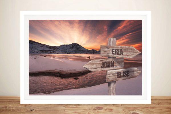 Dawn Beach Framed Custom Signpost Art