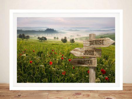 Flower Field Framed Retro Signpost Print