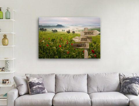 Flower Field Signpost Art Unique Gifts Online