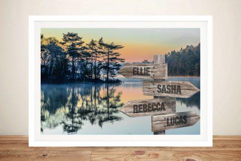 Buy a Mountain Lake Signpost Custom Print