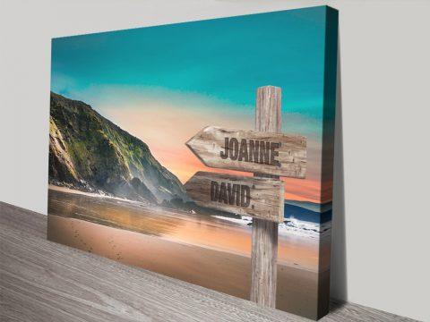 Beach Mountain Retro Signpost Bespoke Art