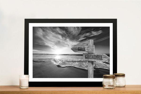 Black & White Vintage Signpost Scenic Art AU