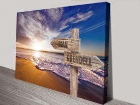 Orange Sunset Signpost Stretched Canvas Art