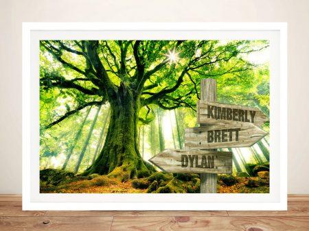 Rising Green Oak Tree with Signpost Artwork