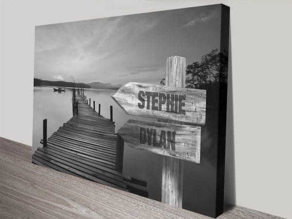 Retro Lakeside Signpost Art Unique Gifts AU
