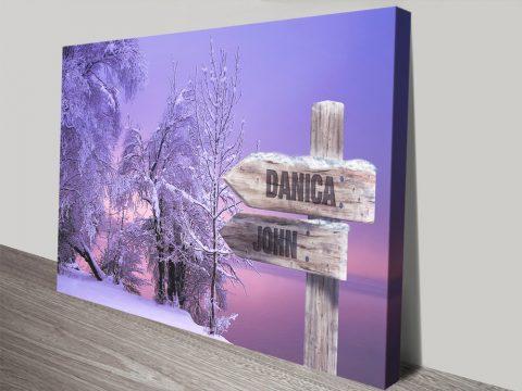 Buy Snow Fields Retro Signpost Canvas Art