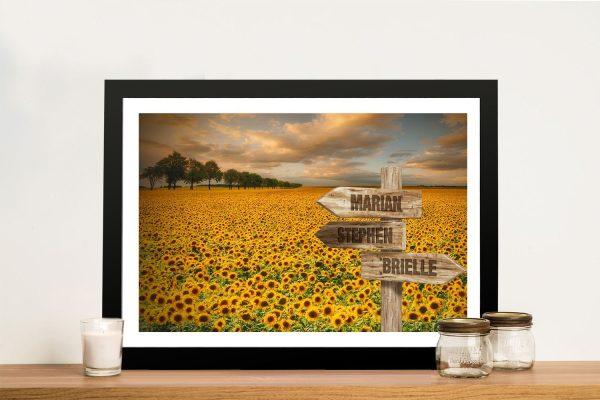 Framed Sunflower Field Signpost Print for Sale