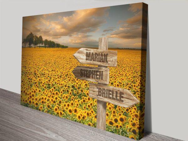 Sunflower Field Vintage Custom Wall Art