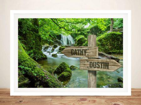 Forest Waterfalls Signpost Canvas Artwork