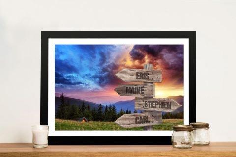 Framed Custom Landscape Signpost Print