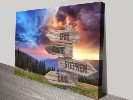 Mountain Sunrise Scenic Signpost Custom Art
