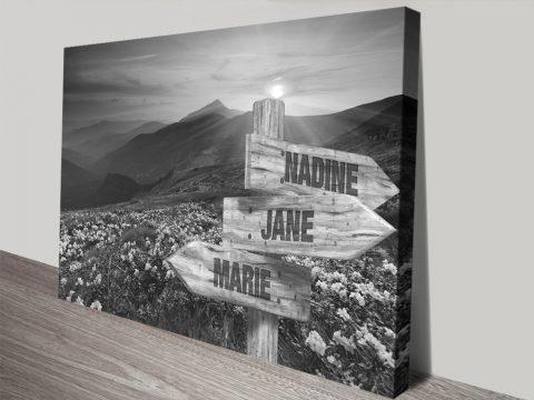 Vintage Black & White Landscape Signpost Art
