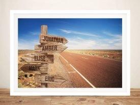 Straight Road Retro Canvas Signpost Print