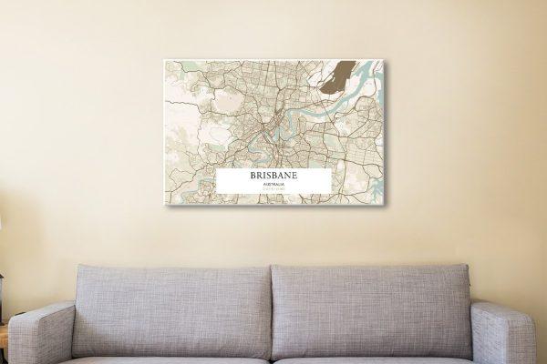 Retro Brisbane Map Canvas Artwork