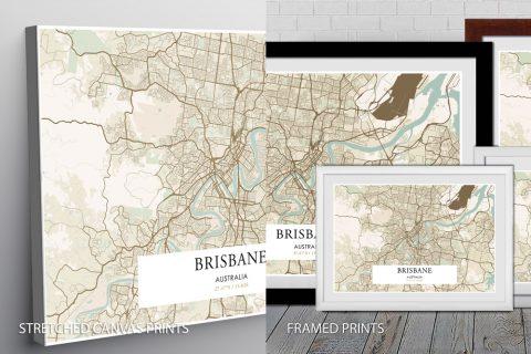 Retro Brisbane Map quality Print
