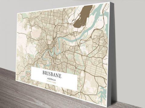 Retro Brisbane Map Canvas Print