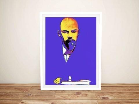 Framed Blue Lenin Pop Art Home Decor AU