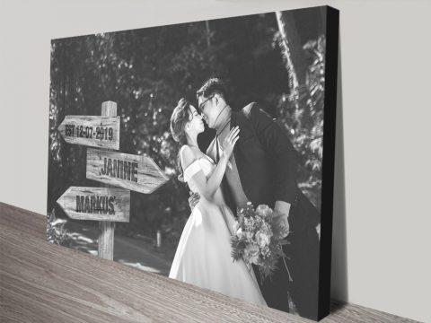 Custom Wedding photo Signpost Canvas