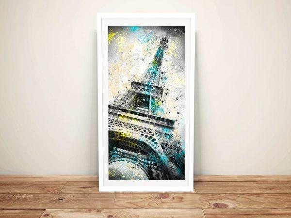 Framed Abstract Eiffel Tower Art on Canvas