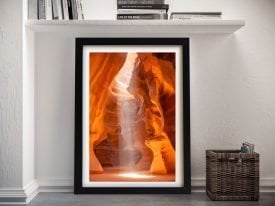 Antelope Canyon Unique Lightbeam framed Art