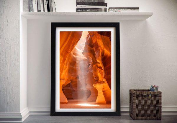 Antelope Canyon Unique Lightbeam framed Art