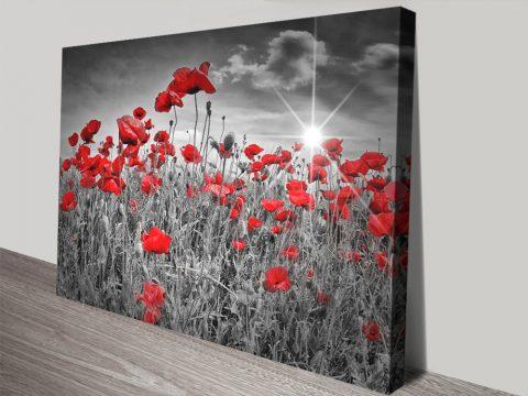 Idyllic Field of Poppies with Sun Canvas Art