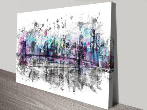 NYC Skyline Splashes Modern Art Print