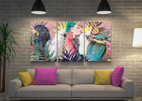 Australian Native Birds Party Triptych Art