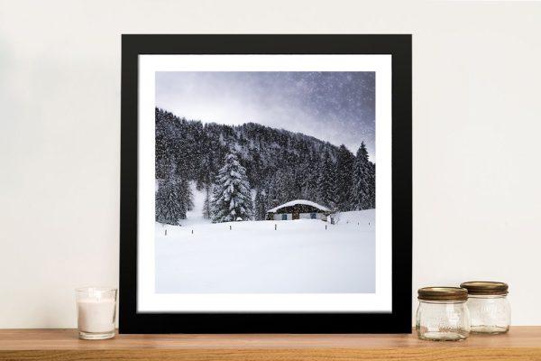 Framed Bavarian Winter Scene Home Decor AU
