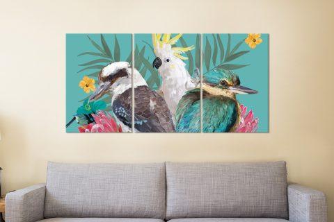 Ready to Hang Colourful Birds Wall Art