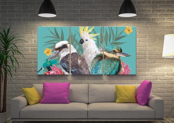 Cockatoo, Kookaburra & Kingfisher Art Triptych