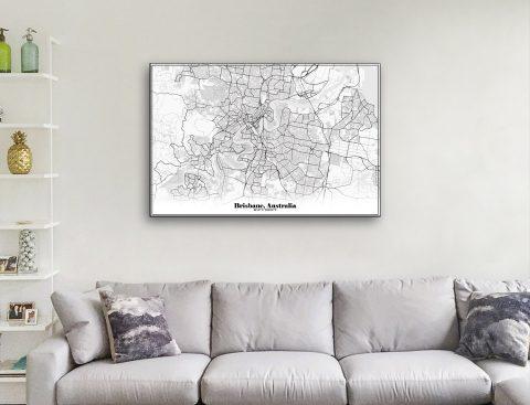 Black & White Map of Brisbane Ready to Hang