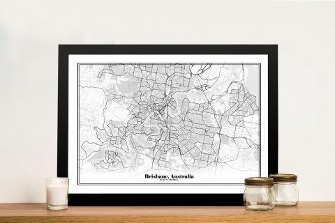 Framed Black & White Brisbane Map Art