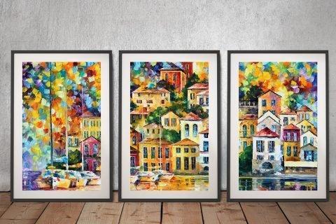Dream Harbour Triptych Leonid Afremov Art