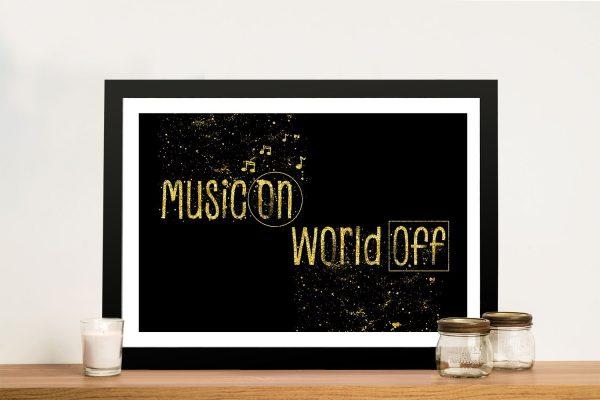 Music On World Off Framed Kids Art AU