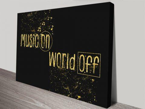Music On World Off Black & Gold Artwork