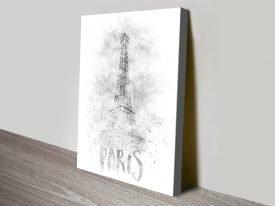 Eiffel Tower Monochrome Print on Canvas