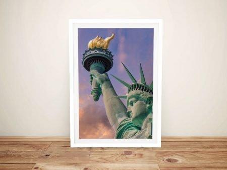 Statue of Liberty at Sunset Framed Artwork